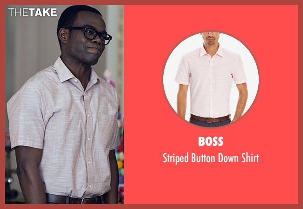 BOSS red shirt from The Good Place seen with Chidi Anagonye (William Jackson Harper)
