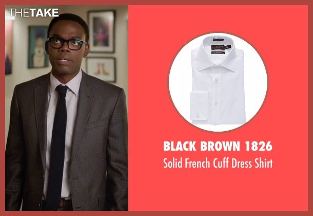 Black Brown 1826 white shirt from The Good Place seen with Chidi Anagonye (William Jackson Harper)