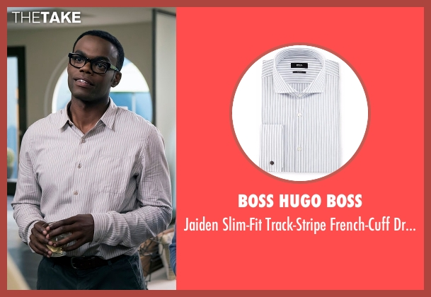 Boss Hugo Boss white shirt from The Good Place seen with Chidi Anagonye (William Jackson Harper)