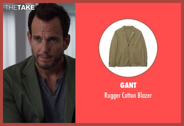 Cadet green blazer from Flaked seen with Chip (Will Arnett)