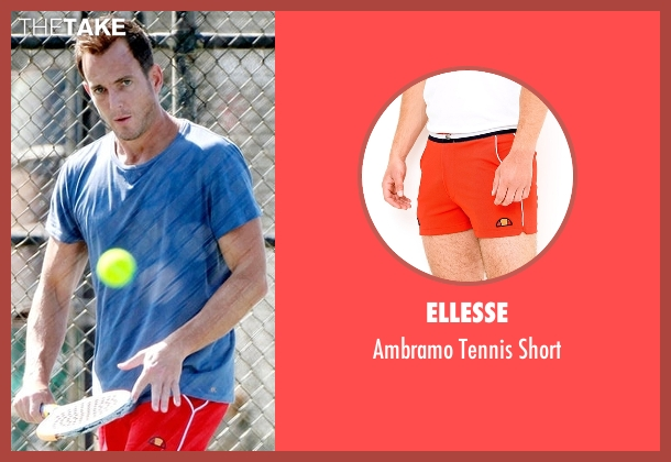 Ellesse red short from Flaked seen with Chip (Will Arnett)