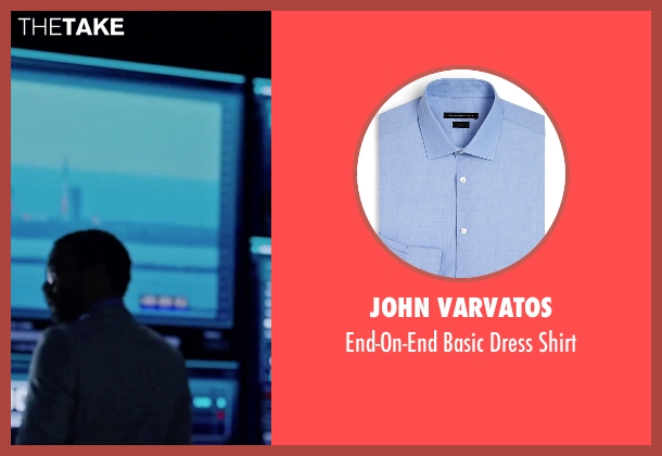 John Varvatos blue shirt from The Martian seen with Chiwetel Ejiofor (Venkat Kapoor)