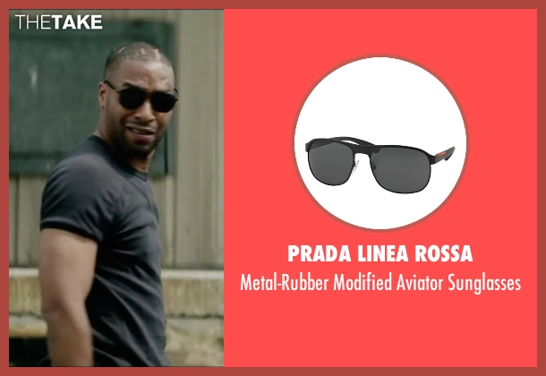 Prada Linea Rossa black sunglasses from Triple 9 seen with Chiwetel Ejiofor (Terrell Tompkins)
