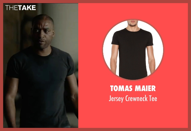 Tomas Maier black tee from Triple 9 seen with Chiwetel Ejiofor (Terrell Tompkins)