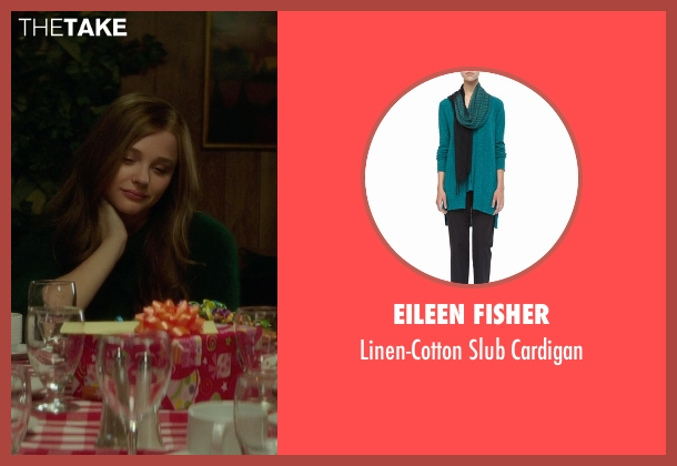 Eileen Fisher green cardigan from If I Stay seen with Chloë Grace Moretz (Mia Hall)