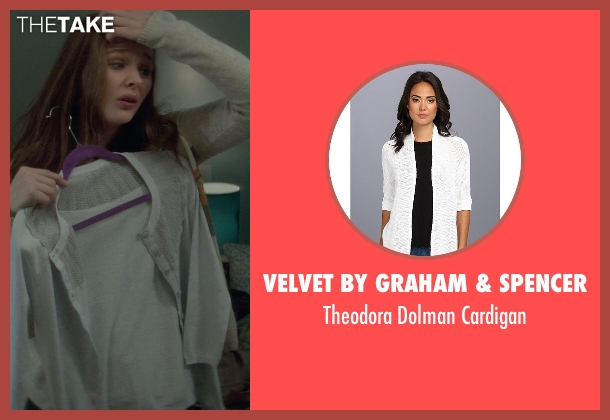 Velvet by Graham & Spencer white cardigan from If I Stay seen with Chloë Grace Moretz (Mia Hall)