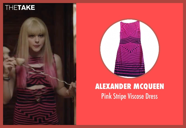 Alexander McQueen pink dress from Neighbors 2: Sorority Rising seen with Chloë Grace Moretz (Shelby)