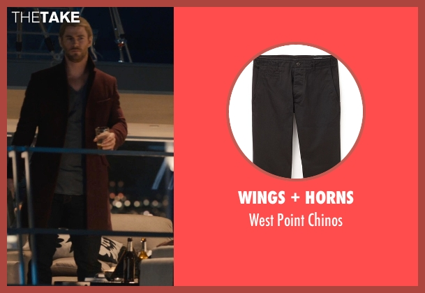 Wings + Horns black chinos from Avengers: Age of Ultron seen with Chris Hemsworth (Thor)