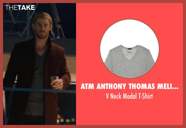 ATM Anthony Thomas Melillo gray t-shirt from Avengers: Age of Ultron seen with Chris Hemsworth (Thor)