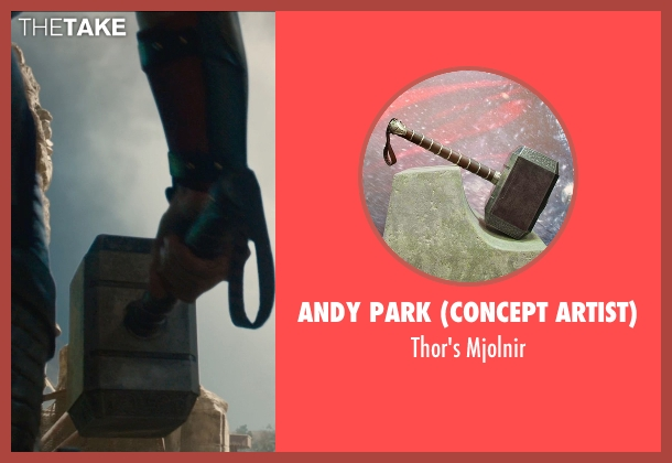 Andy Park (Concept Artist) mjolnir from Avengers: Age of Ultron seen with Chris Hemsworth (Thor)
