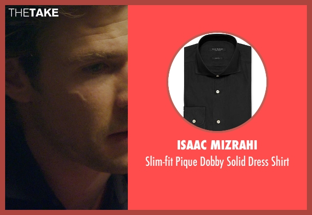 Isaac Mizrahi black shirt from Blackhat seen with Chris Hemsworth (Nicholas Hathaway)