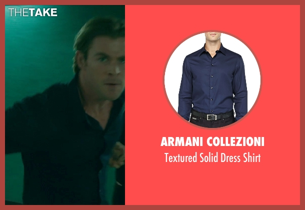 Armani Collezioni blue shirt from Blackhat seen with Chris Hemsworth (Nicholas Hathaway)