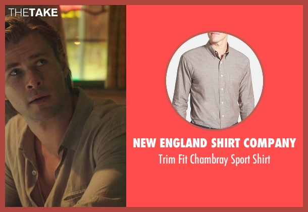 New England Shirt Company brown shirt from Blackhat seen with Chris Hemsworth (Nicholas Hathaway)