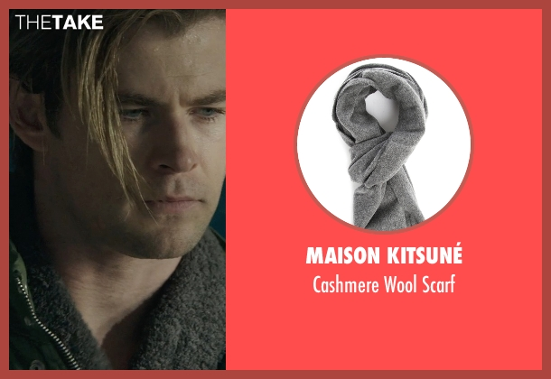 Maison Kitsuné gray scarf from Blackhat seen with Chris Hemsworth (Nicholas Hathaway)