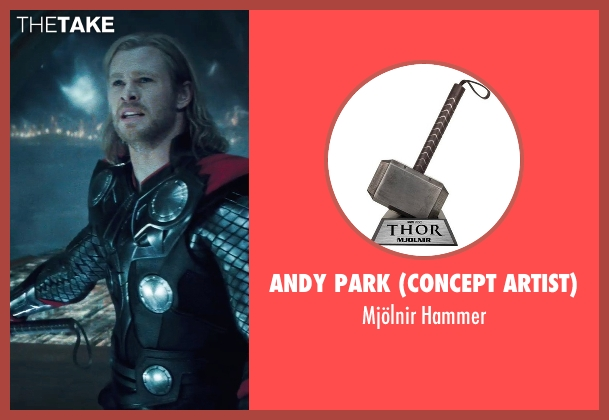 Andy Park (Concept Artist) hammer from Thor seen with Chris Hemsworth (Thor)