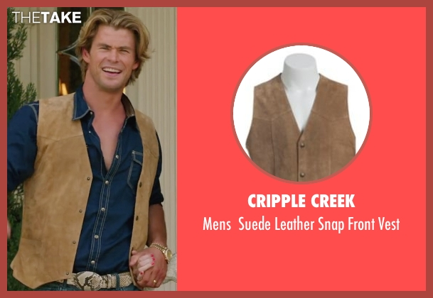 Cripple Creek brown vest from Vacation seen with Chris Hemsworth (Stone Crandall)