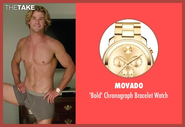Movado gold watch from Vacation seen with Chris Hemsworth (Stone Crandall)