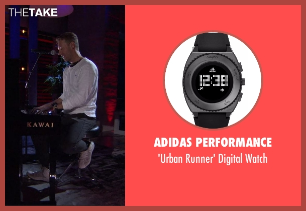 Adidas Performance  black watch from Chelsea seen with Chris Martin
