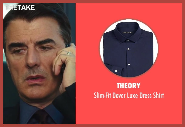 Theory blue shirt from Sex and the City 2 seen with Chris Noth (Mr. Big)