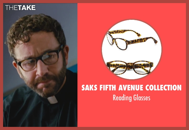 Saks Fifth Avenue Collection black glasses from St. Vincent seen with Chris O'Dowd (Brother Geraghty)