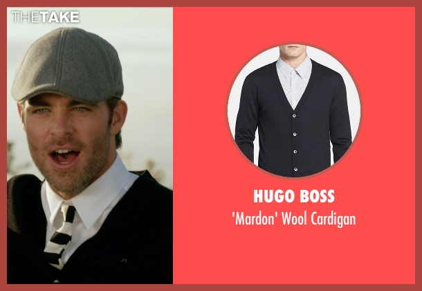 Hugo Boss black cardigan from Horrible Bosses 2 seen with Chris Pine (Rex)