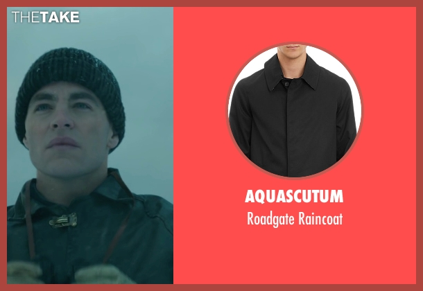Aquascutum black raincoat from The Finest Hours seen with Chris Pine (Bernie Webber)