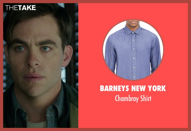 Barneys New York blue shirt from The Finest Hours seen with Chris Pine (Bernie Webber)