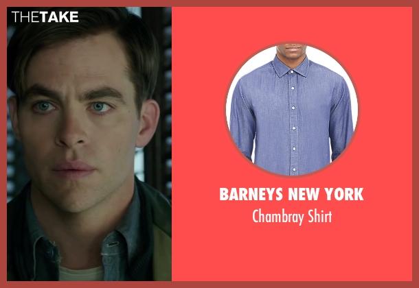 Barneys New York blue shirt from The Finest Hours seen with Chris Pine (Bernie Webber)