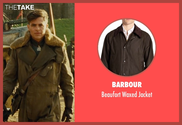 Barbour green jacket from Wonder Woman seen with Chris Pine (Steve Trevor)