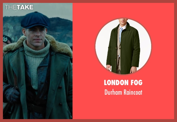 London Fog green raincoat from Wonder Woman seen with Chris Pine (Steve Trevor)