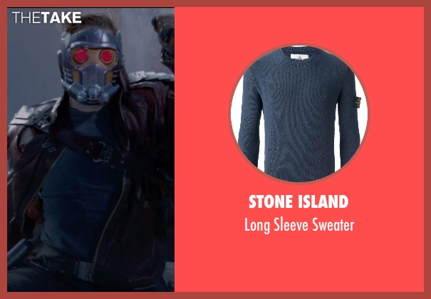Stone Island blue sweater from Guardians of the Galaxy seen with Chris Pratt (Peter Quill / Star-Lord)