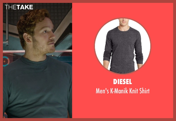 Diesel gray shirt from Guardians of the Galaxy seen with Chris Pratt (Peter Quill / Star-Lord)