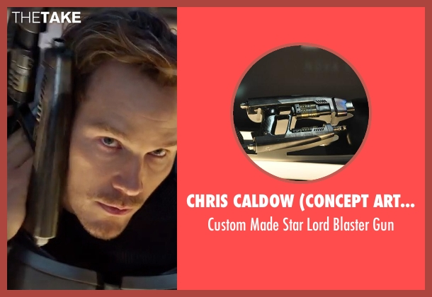 Chris Caldow (Concept Artist: Props) gun from Guardians of the Galaxy Vol. 2 seen with Chris Pratt (Peter Quill / Star-Lord)