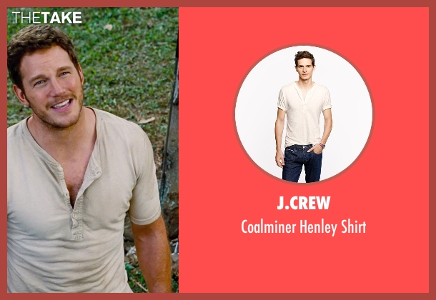 J.Crew beige shirt from Jurassic World seen with Chris Pratt (Owen Grady)