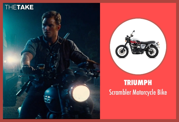 Triumph bike from Jurassic World seen with Chris Pratt (Owen Grady)