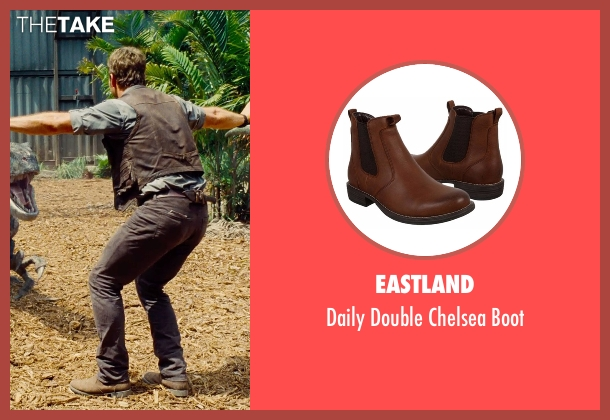 Eastland black boot from Jurassic World seen with Chris Pratt (Owen Grady)