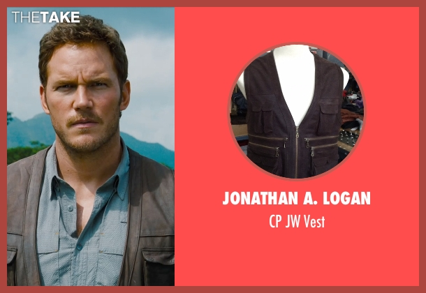 Jonathan A. Logan brown vest from Jurassic World seen with Chris Pratt (Owen Grady)