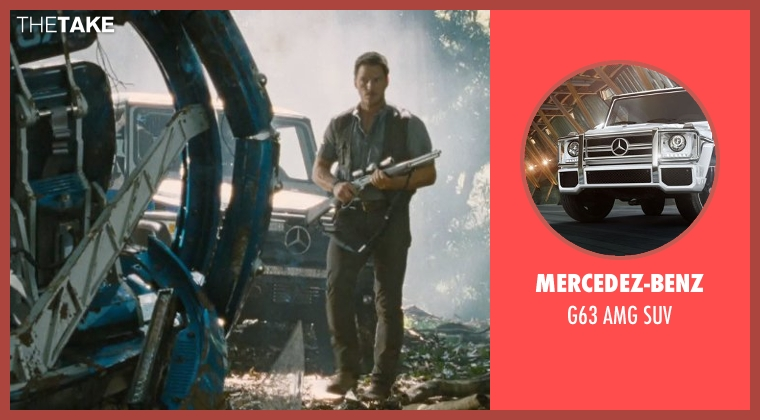 Mercedez-Benz suv from Jurassic World seen with Chris Pratt (Owen A.)