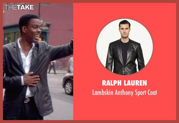 Ralph Lauren black coat from Top Five seen with Chris Rock (Andre Allen)