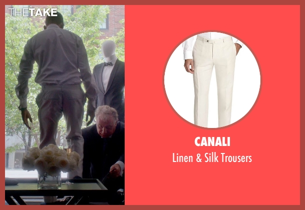 Canali white trousers from Top Five seen with Chris Rock (Andre Allen)