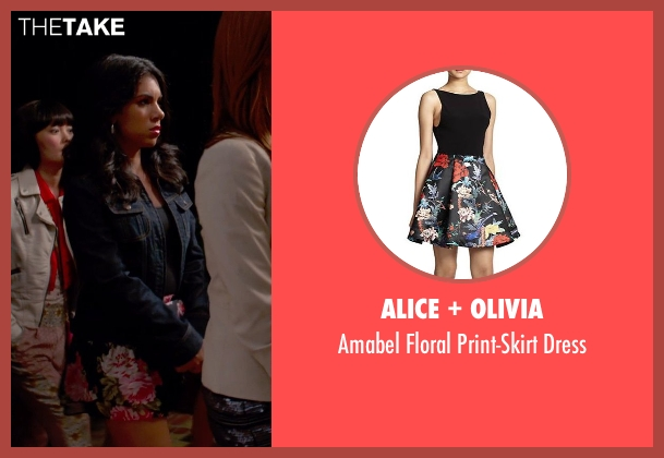 Alice + Olivia black dress from Pitch Perfect 2 seen with Chrissie Fit (Flo)