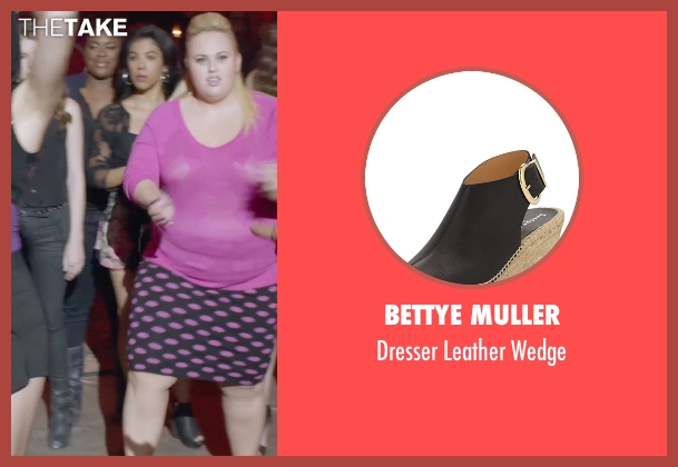 Bettye Muller black wedge from Pitch Perfect 2 seen with Chrissie Fit (Flo)