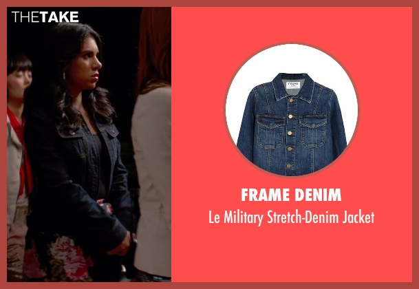 Frame Denim blue jacket from Pitch Perfect 2 seen with Chrissie Fit (Flo)