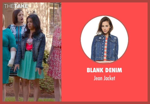 Blank Denim blue jacket from Pitch Perfect 2 seen with Chrissie Fit (Flo)