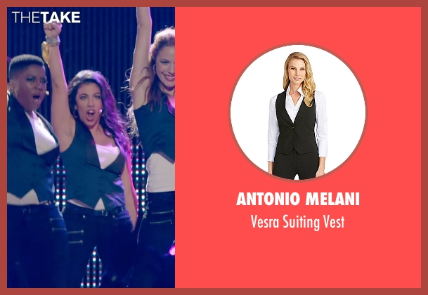 Antonio Melani blue vest from Pitch Perfect 2 seen with Chrissie Fit (Flo)