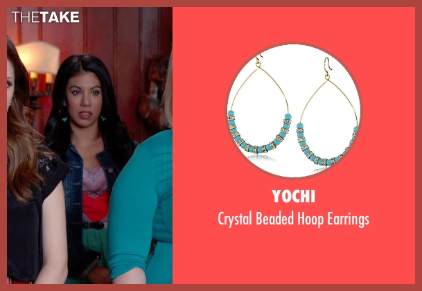 Yochi gold earrings from Pitch Perfect 2 seen with Chrissie Fit (Flo)