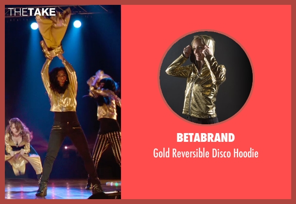 Betabrand gold hoodie from Pitch Perfect 2 seen with Chrissie Fit (Flo)