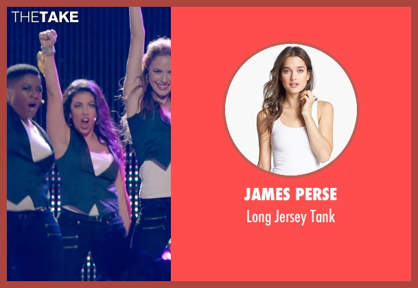 James Perse white tank from Pitch Perfect 2 seen with Chrissie Fit (Flo)