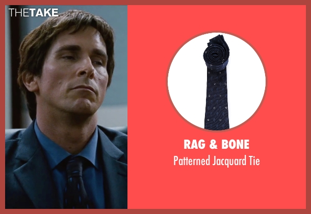 Rag & Bone blue tie from The Big Short seen with Christian Bale (Michael Burry)