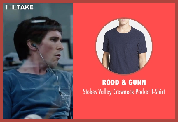 Rodd & Gunn blue t-shirt from The Big Short seen with Christian Bale (Michael Burry)